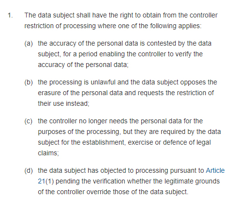 GDPR Info: Article 18 Section 1: Right to restriction of processing