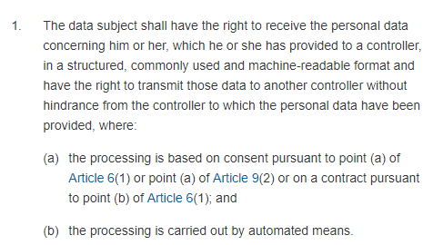 GDPR Info: Article 20 Section 1: Right to data portability