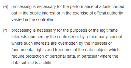 GDPR Info Article 6 Section 1 excerpt: Lawfulness of Processing
