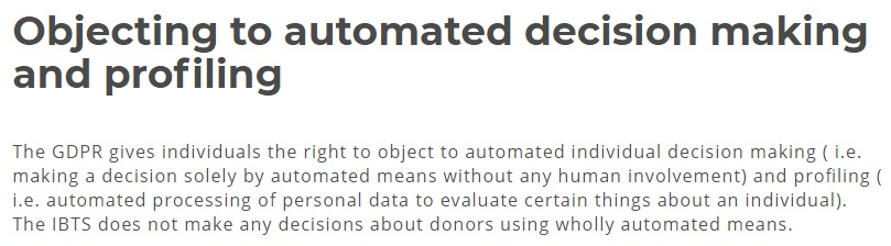Irish Blood Transfusion Service Privacy Policy: GDPR User Rights: Objecting to automated decision making and profiling clause
