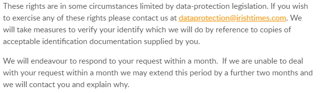 The Irish Times Privacy Policy: Excerpt of Your Data Rights clause