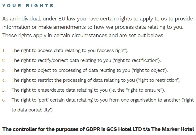 The Marker Hotel Data Privacy Notice: GDPR User Rights clause