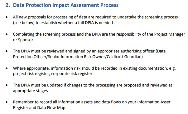 NHS DPIA: Data Protection Impact Assessment Process overview section