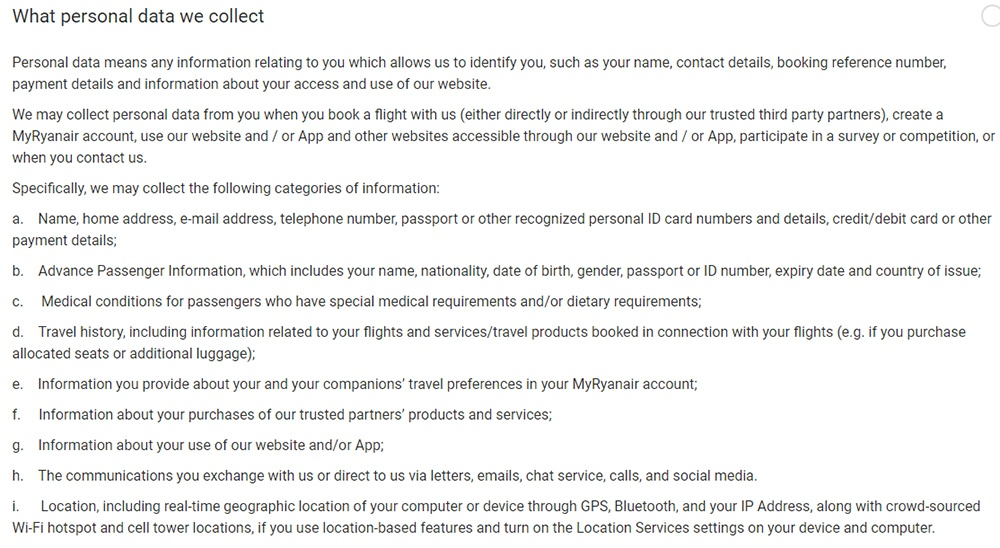 Ryanair Privacy Policy: What personal data we collect clause