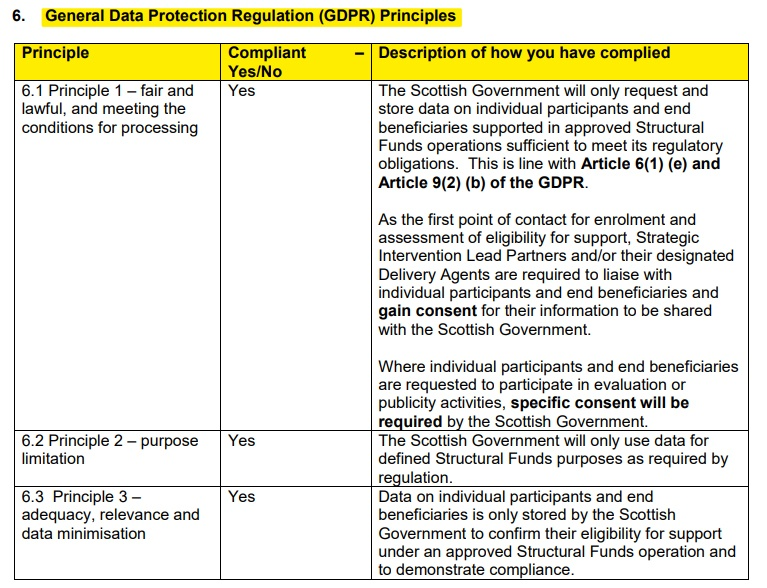 Scottish Government DPIA: Excerpt of section for Compliance with GDPR Principles