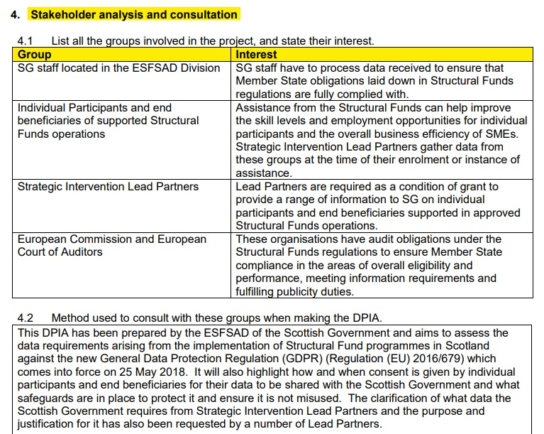 Scottish Government DPIA: Stakeholder analysis and consultation and method used to consult sections
