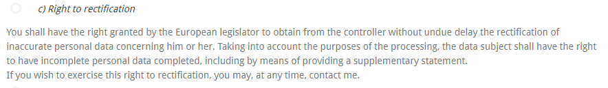Sinead Kennedy Privacy Policy: Right to rectification clause