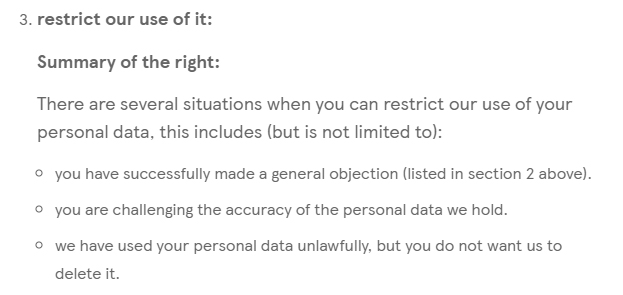 Tesco GDPR Data Subject Rights: Restriction of use summary clause