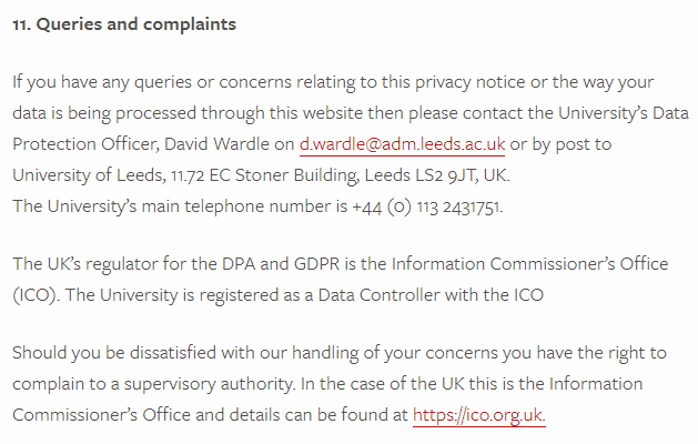 University of Leeds Privacy Policy: Queries and complaints clause