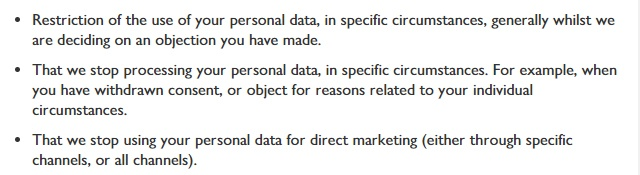 Waitrose Privacy Notice: What are your rights over your personal data clause excerpt