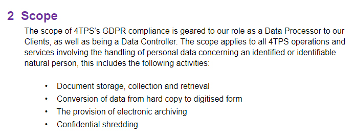 4-Thought Professional Services: GDPR Statement of Compliance - excerpt of Scope clause