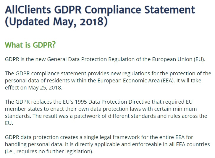 AllClients GDPR Compliance Statement: What is GDPR clause