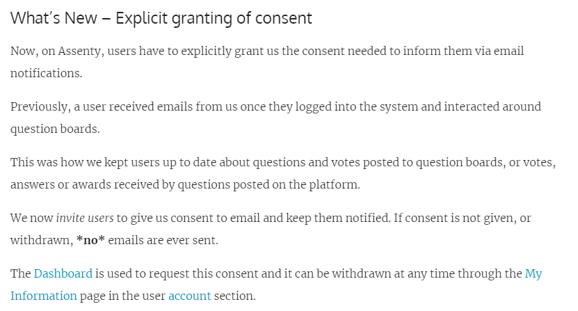 Assenty GDPR Compliant Consent Driven Email Notifications - Explicit granting of consent section