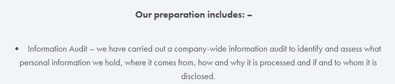 Big Bear GDPR Compliance Statement: Preparation clause - Information Audit section