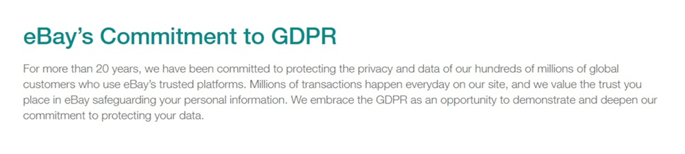 eBay Privacy Center: Commitment to GDPR clause