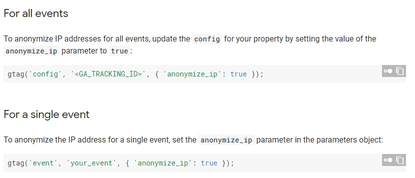 Google Analytics Developer Guide: Anonymize IP addresses instructions
