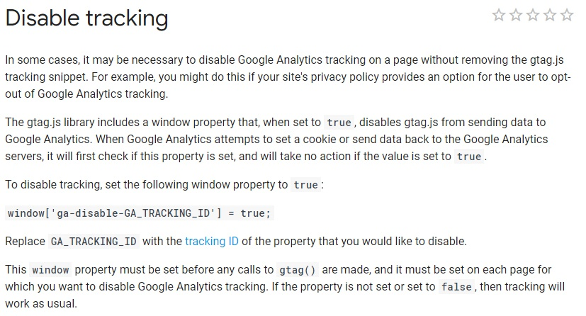 Google Analytics Developer Guide: Disable tracking instructions