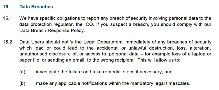 Pinewood Group Data Protection Policy: Data Breaches clause