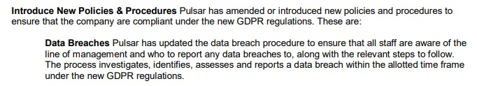 Pulsar GDPR Compliance Statement: New Policies and Procedures clause - Data Breaches section