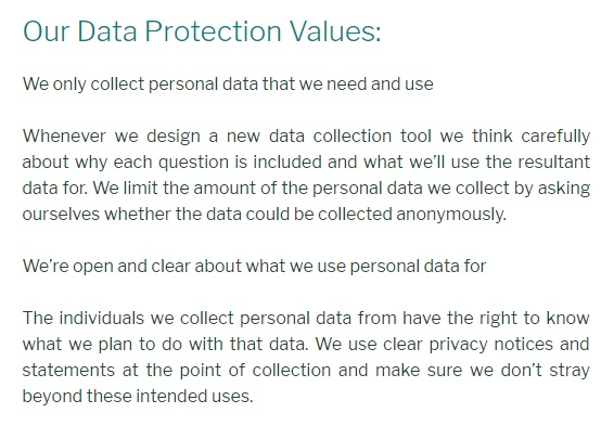 The Reader Data Protection Policy: Our Data Protection Values clause