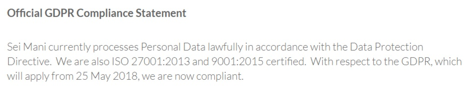 Sei Mani Official GDPR Compliance Statement: Data security section