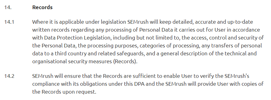 SEMrush Data Processing Agreement Records clauseSEMrush Data Processing Agreement Records clause