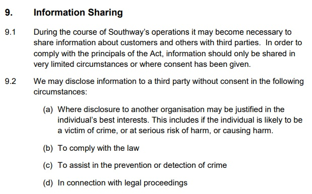 Southway Housing Data Protection Policy: Information sharing clause - third-parties