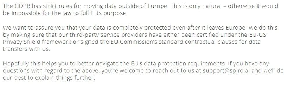 Spiro GDPR Compliance Statement: International data transfer clause exerpt