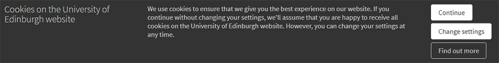 University of Edinburgh Cookies Consent notice