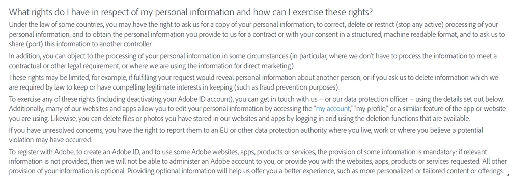 Adobe Privacy Policy: User rights clause