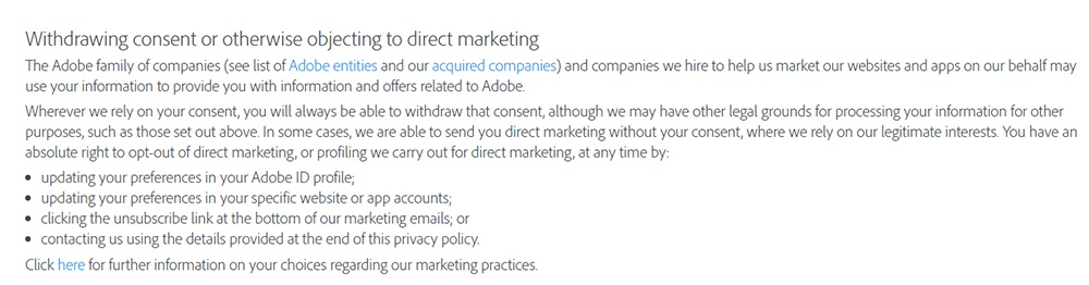 Adobe Privacy Policy: Withdrawing consent or otherwise objecting to direct marketing clause