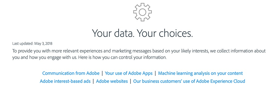 Intro section of Adobe Privacy: Your data your choices to control your information and opt out
