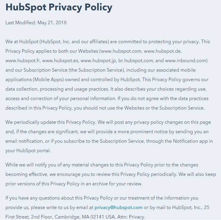 HubSpot Privacy Policy: Full introduction section