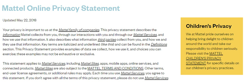 Mattel Privacy Statement with Children's Privacy link