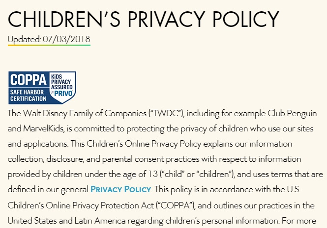Walt Disney Company Children's Privacy Policy: Introduction section with COPPA Safe Harbor Certification