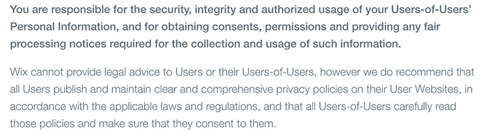 Wix Privacy Policy: Excerpt of Users of Users Information clause