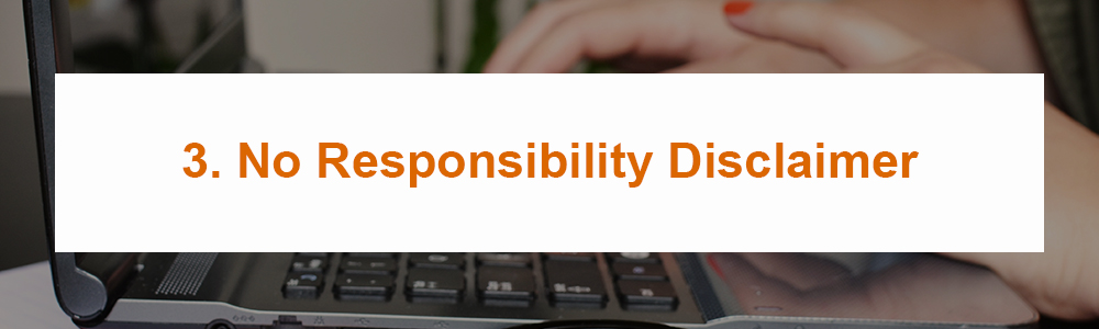 3. No Responsibility Disclaimer