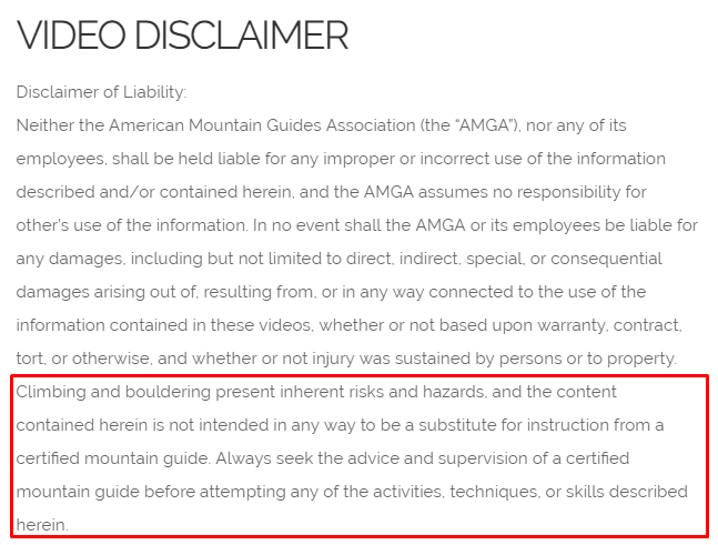 American Mountain Guides Association video disclaimer with Risk section highlighted
