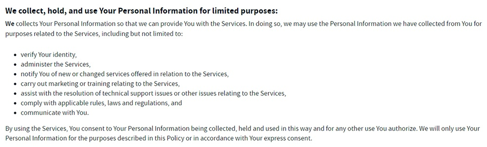 And Co Privacy Policy: We collect, hold and use your personal information for limited purposes clause