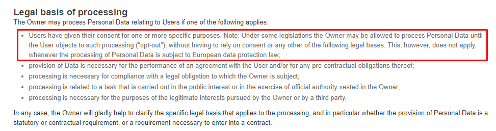 Art Fire Privacy Policy: Legal basis of processing clause highlighted
