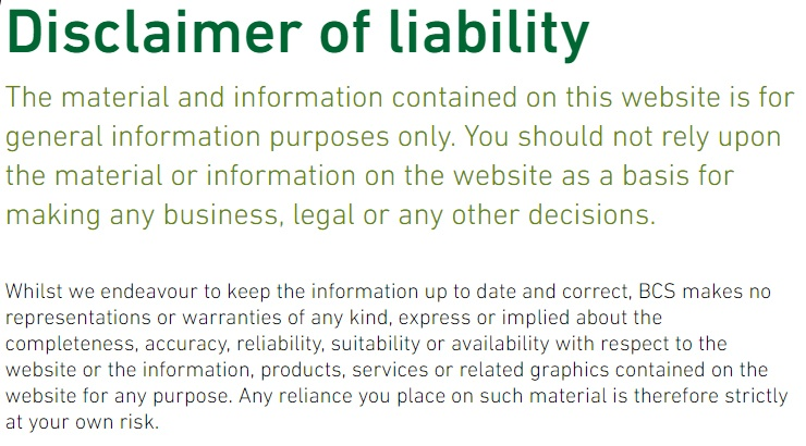 Excerpt of BCS Disclaimer of liability