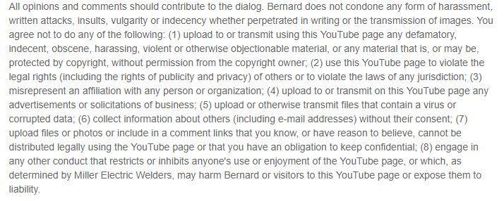 Bernard's YouTube Disclaimer content control section
