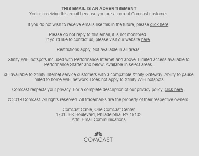 Screenshot of Comcast email footer