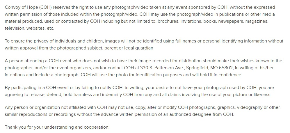 Convoy of Hope video disclaimer