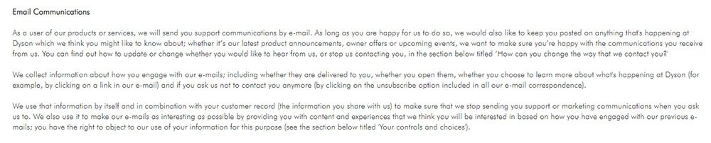 Dyson Global Privacy Policy: Email Communications clause