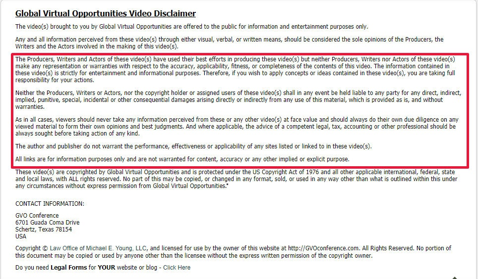 Global Virtual Opportunities video disclaimer