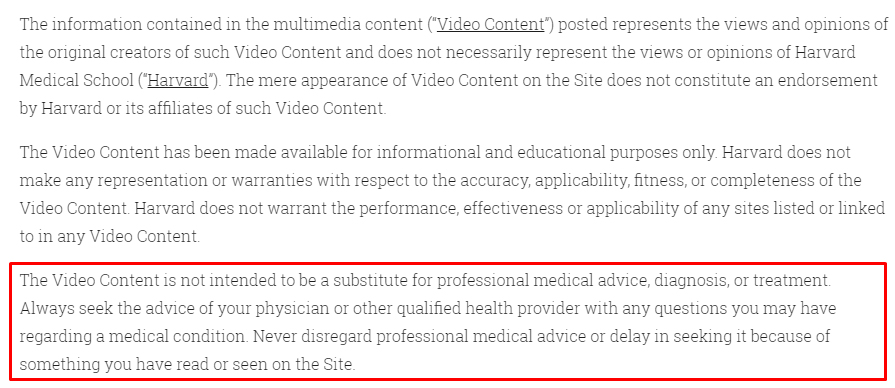Harvard Medical School video disclaimer with professional advice section highlighted