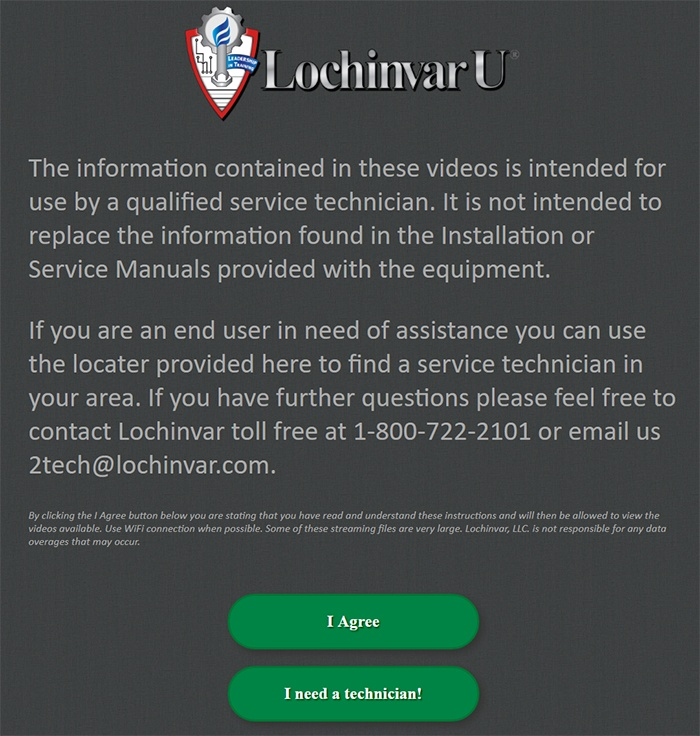 """Lochinvar video disclaimer with """"I Agree"""" button"""