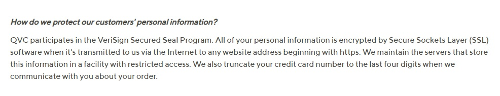 QVC Privacy Policy: How do we protect our customers personal information - security clau