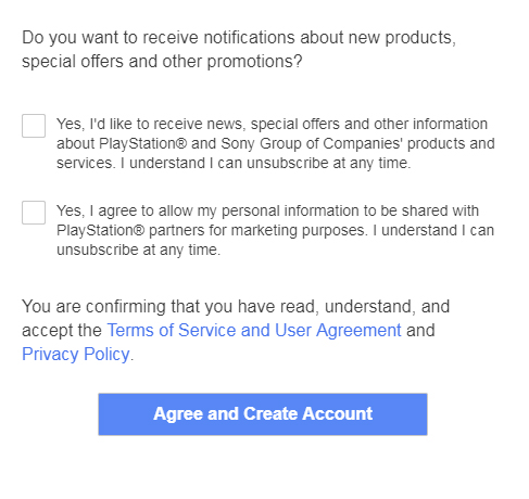 Sony account sign-up form with checkboxes for marketing emails and to share personal information